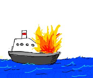 fire boat cartoon boat on fire drawing by monokuro drawception