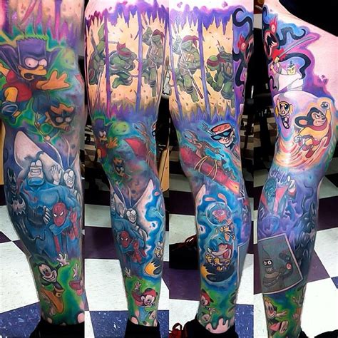 90s cartoon tattoos 90s sleeve collection
