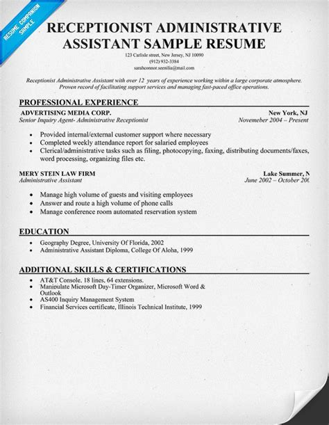 Resume For Hotel Administrative Assistant Basic Resume Template Sles Resume Templates