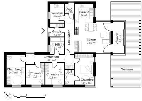 Maison Avec Toit Terrasse 2833 by Plan De Maison Etage 8 Plan Maison Plain Pied Avec Toit