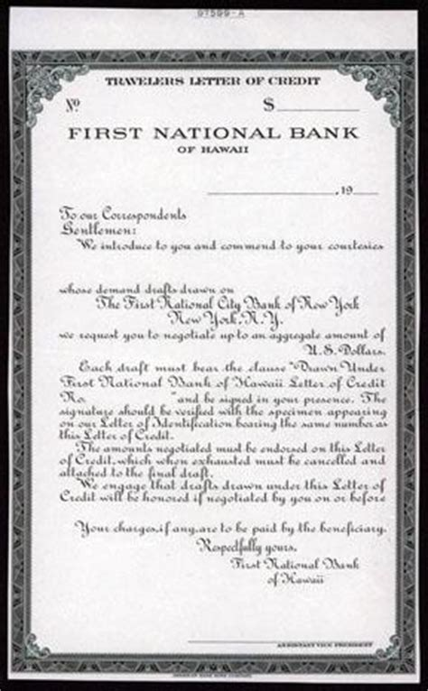 Original Letter Of Credit National Bank Of Hawaii Proof Travelers Letter Of Credit