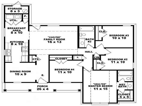 4 Bedroom 2 Storey House Plans by 2 Bedroom One Story Homes 4 Bedroom 2 Story House Floor