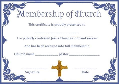 church membership certificates