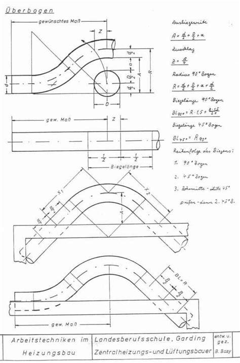 Blech Biegen Länge Berechnen by Arbeitstechniken Im Heizungsbau