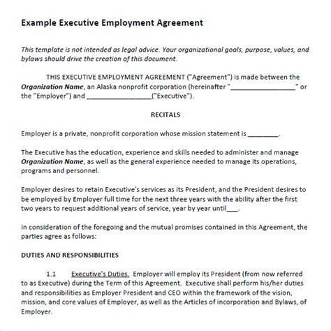 ceo contract template executive agreement 7 free sles exles format
