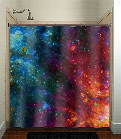 outer space curtains fire ice nebula planet outer space galaxy shower curtain