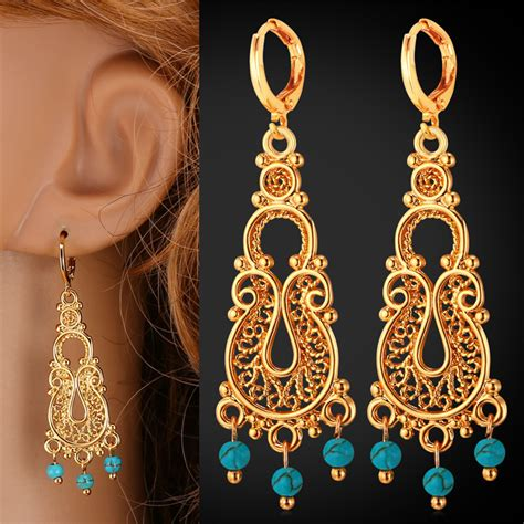 Etnic Tassel Earrings Gold Plated vintage earrings turkish jewelry turquoise tassel ethnic fashion style gold plated drop