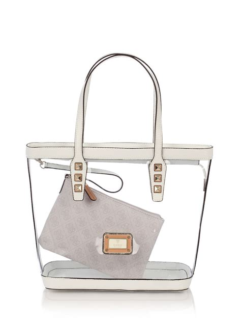 Tas Original Guess Mini Fox guess logo remix clear plastic tote bag in transparent