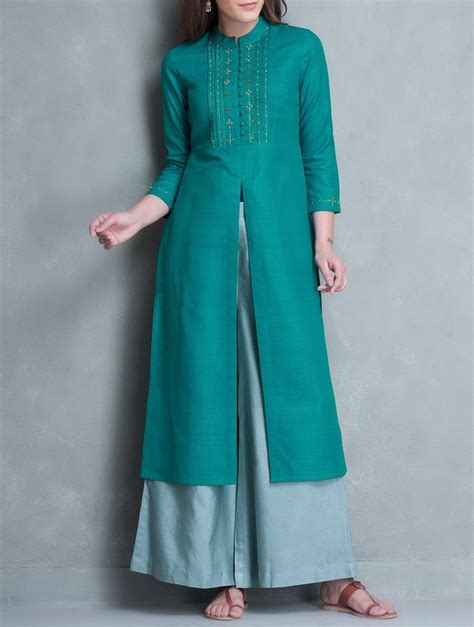 kurtas pattern for ladies buy cyan zari thread embroidered yoke matka silk kurta