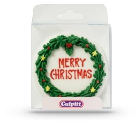 merry christmas sugar plaque 75mm sugar decorations