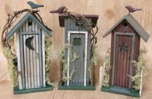 Rustic outhouse country log cabin style decor primitive wood figurines