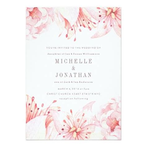 Dusty Pink Wedding Invitations pink soft watercolor flower wedding invitation flower