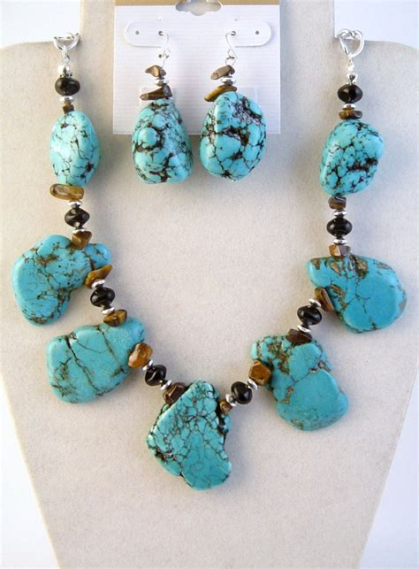 real stones for jewelry genuine large turquoise tiger eye onyx stones necklace