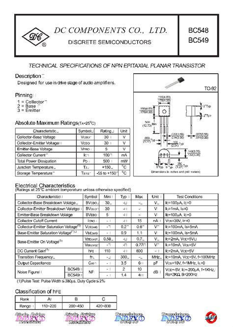 transistor bc548 description bc548 4782509 pdf datasheet ic on line