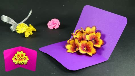How To Make Pop Up Flowers Card In Paper - how to make pop up cards pop up flower card diy tutorial