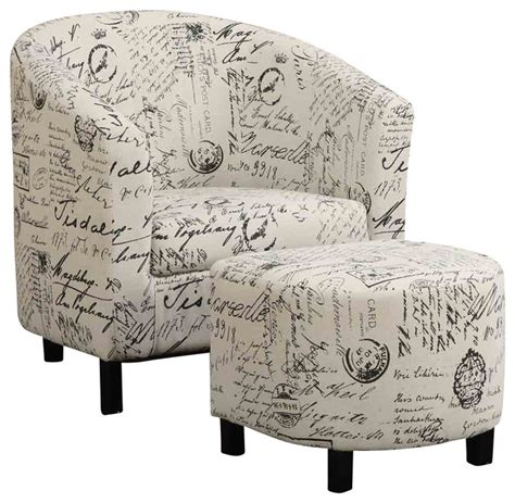 french script armchair transitional two piece accent chair and ottoman set in french script pattern transitional