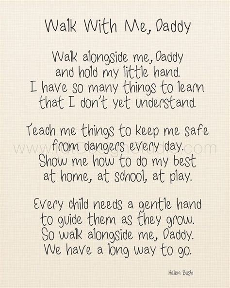 fathers day poems for papa walk with me s day poem s day print