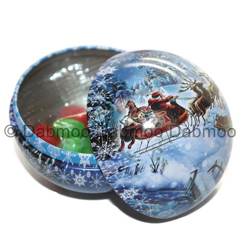 candy filled christmas decoration bauble tin assorted
