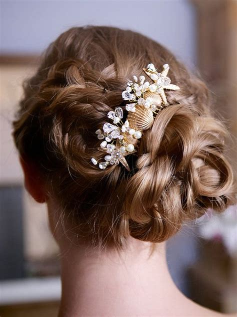 starfish hair accessories by hair comes the bride wedding starfish comb with shells and crystals 2039896