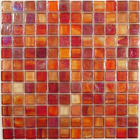 hirsch 1 x 1 orange glass square tile glossy