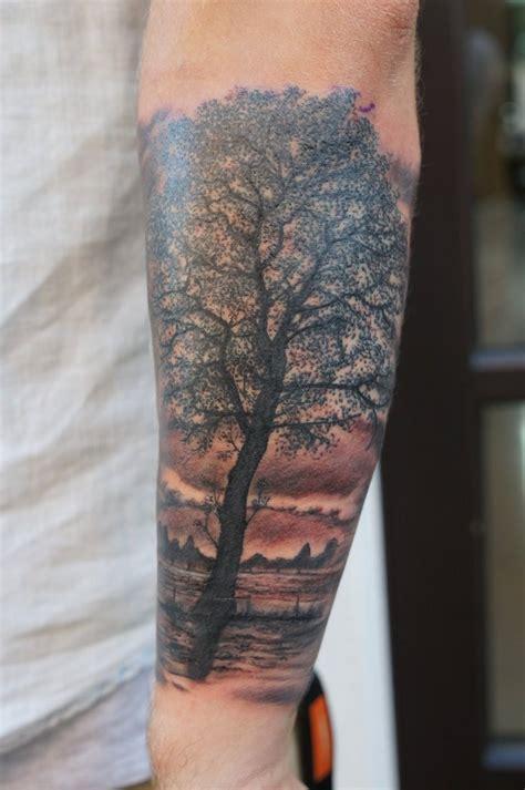 tree forearm tattoo realistic tree forearm by graynd tattooimages biz