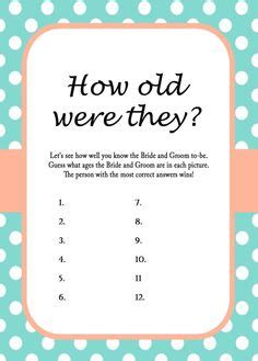 bridal shower for all ages printable bridal shower guess the s age