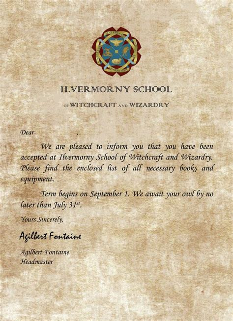 harry potter letter ilvermorny welcome letter harry potter harry potter 1275