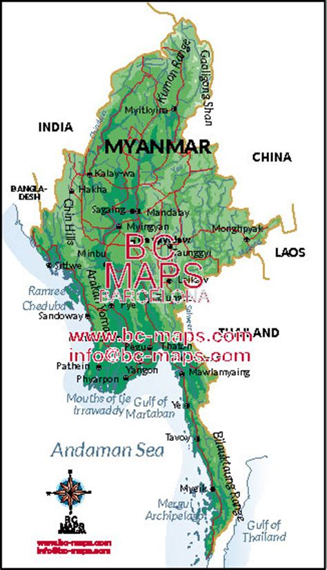 myanmar physical map myanmar map eps