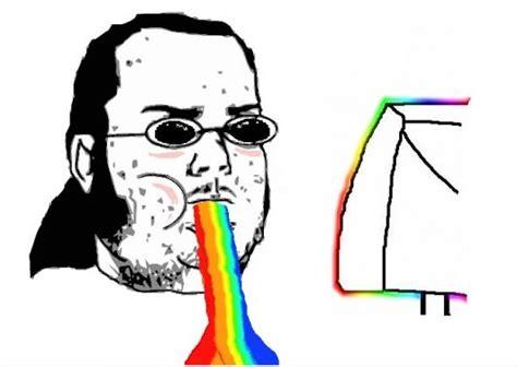 Rainbow Face Meme - nerd rainbow puke
