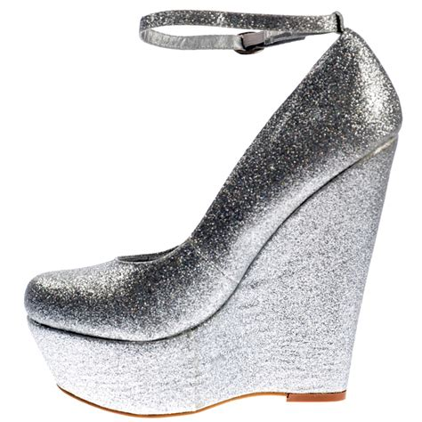 onlineshoe silver glitter wedge platform shoes ankle