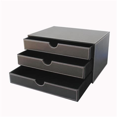 Leather Desk Organizer With Drawers 3 Layer Leather Desk Document Storage Box Files Organizer Cabinet Drawer A114 In