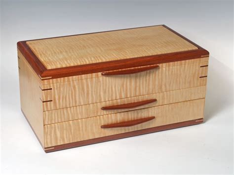 Handcrafted Boxes - custom tiger maple jewelry box wood n it be llc