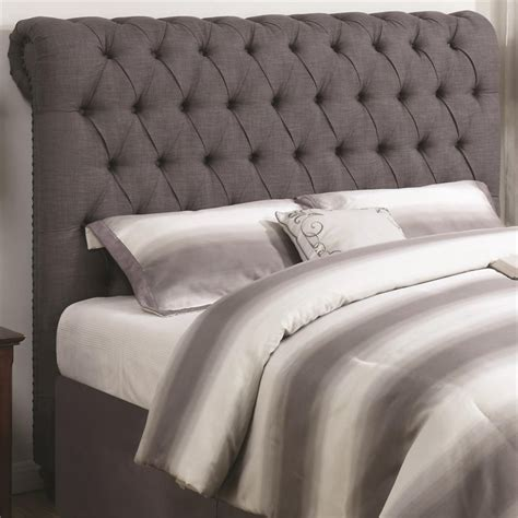gray tufted headboard king coaster devon california king button tufted headboard in