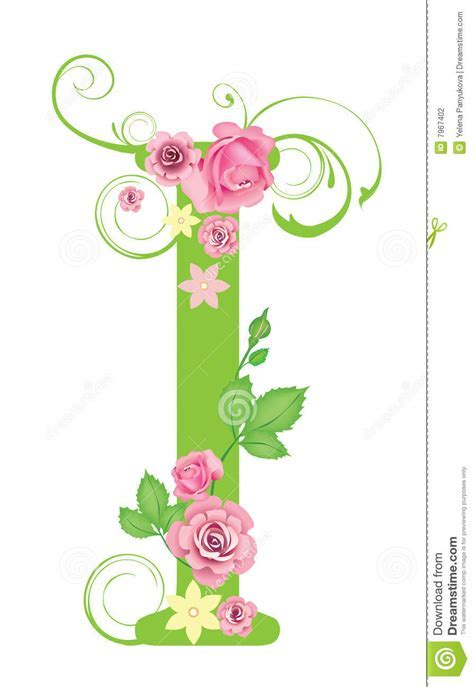 Letter I with roses stock vector. Image of abstract, swirl