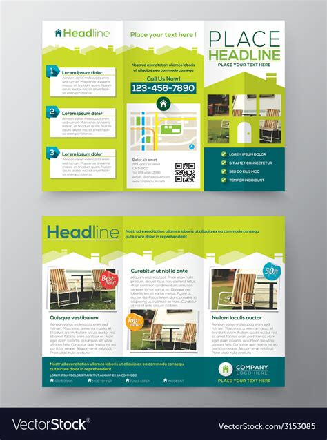 Tri Fold Real Estate Brochure Flyer Template Vector Image Real Estate Tri Fold Brochure Template