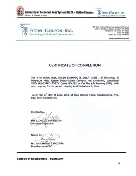 save sample certificate of completion for ojt in the philippines