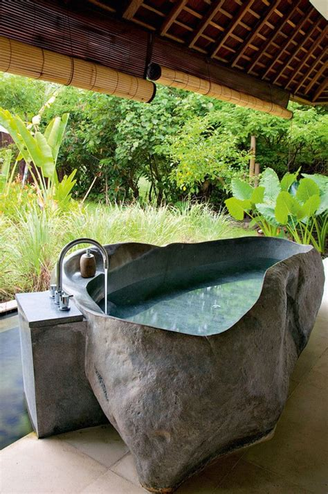 outdoor bathtub getting in touch with nature soothing outdoor bathroom