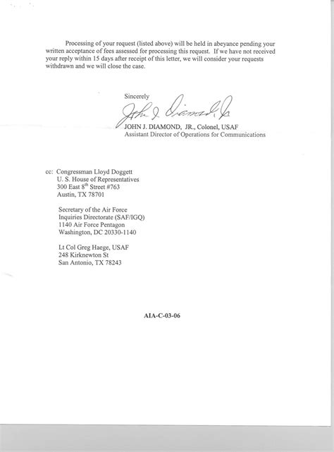 Letter Response To His Coy Foia Requests