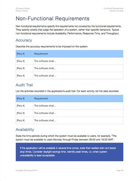 non functional requirements template functional requirements apple iwork