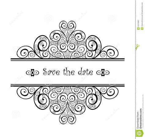 Wedding Border Design Black And White by Vintage Wedding Heading With Swirly Design Stock Vector