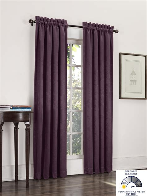 eggplant colored curtain panels com sun zero cadence velvet texture blackout