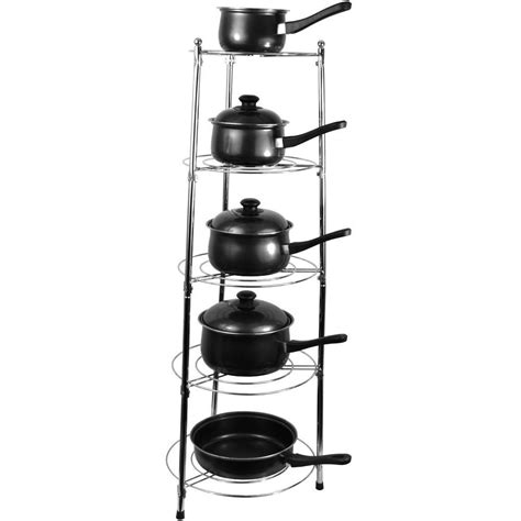 Pan Holder Rack Five Tier Kitchen Pan Stand Saucepan Pot Rack Holder
