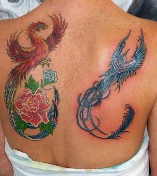 phoenix vogel tattoo phoenix and blue bird tattoo with flowers on back