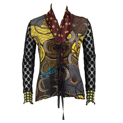 44750 Mixed Graffiti S M L Blouse 2000 s gaultier soleil tie front blouse at 1stdibs