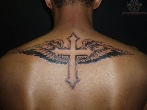 cross with wing tattoo cross tattoos for guys ideas and designs for