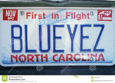 Nc Vanity Plates by Vanity License Plate Carolina Editorial Stock