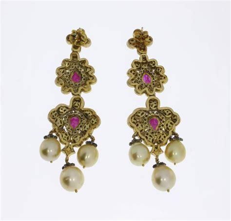 Gold Pearl Chandelier Earrings Pearl Ruby Silver Gold Chandelier Earrings For Sale At 1stdibs