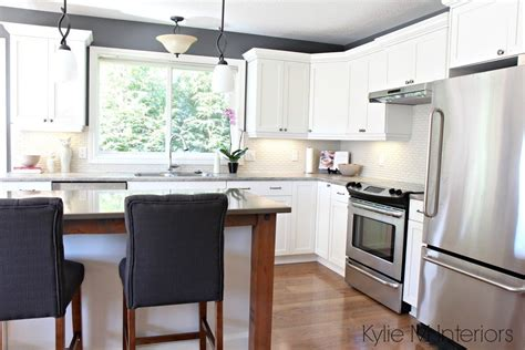 maple kitchen cabinets painted cloud white   makeover