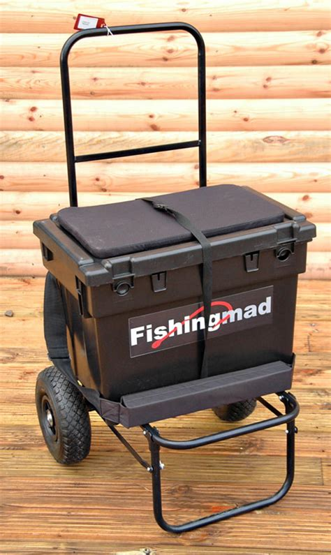fishing seat box with wheels bison fishing seat box trolley and seatbox barrows
