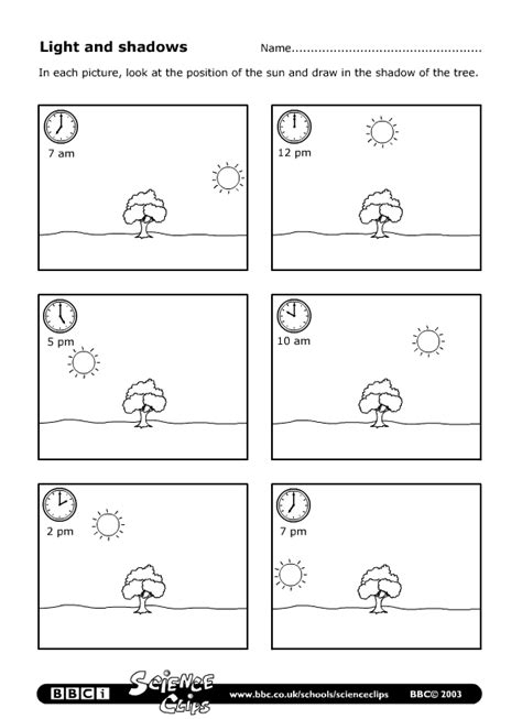 bbc schools science clips light and shadows worksheet